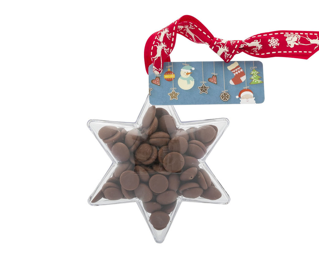 Plastic star shape filled with chocolate buttons, Christmas Gift - Image 1