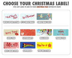 Chart with different Christmas labels for Button-its Chocolate Buttons Gifts
