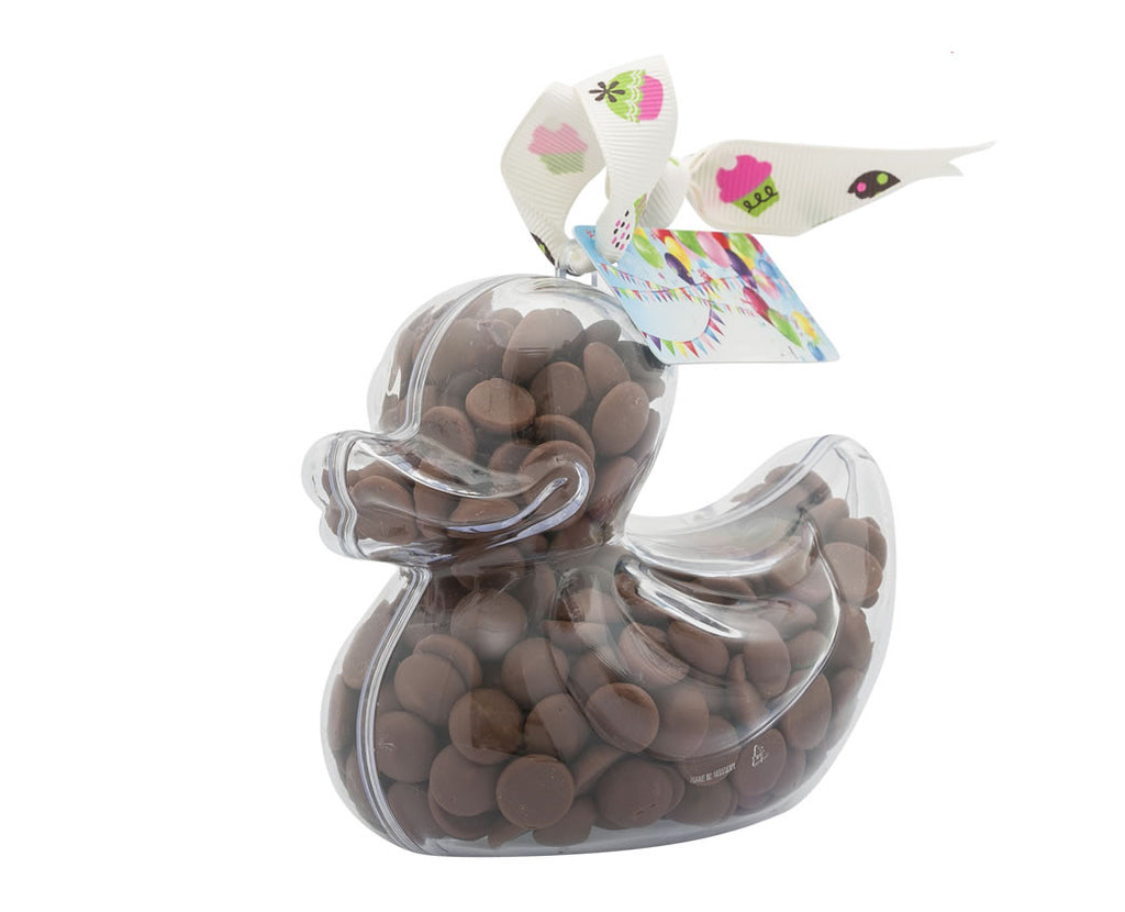 Plastic duck shape filled with chocolate buttons, Gift - Image 1