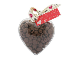 Plastic heart shape filled with chocolate buttons, Gift - Image 1