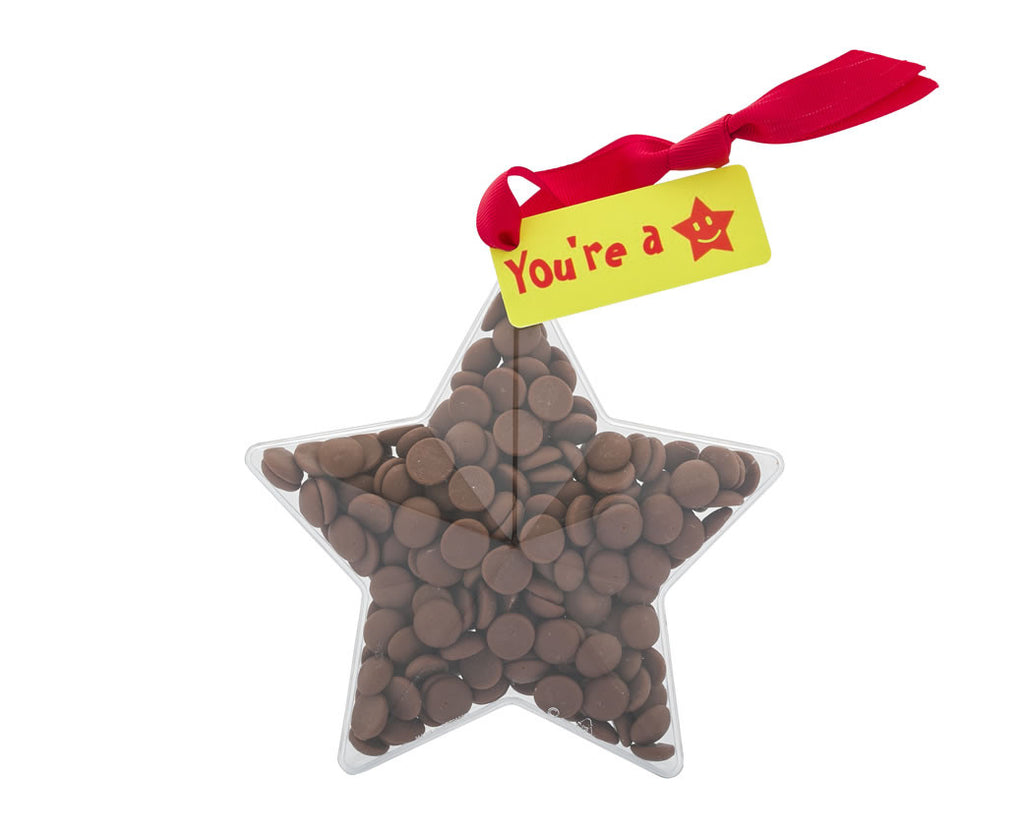 Plastic star shape filled with chocolate buttons, Gift - Image 1