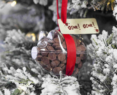 Button-its shape filled with chocolate buttons used as a Christmas Tree Decoration