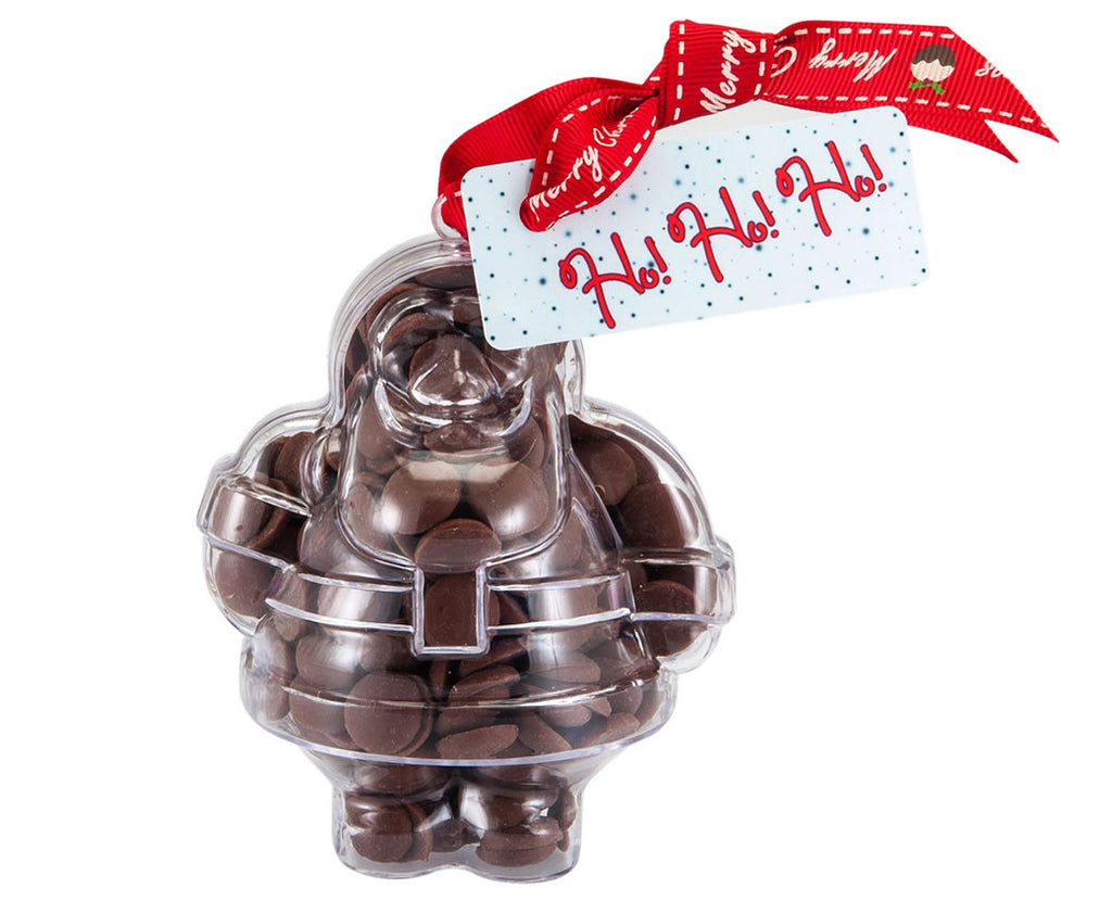Plastic Father Christmas shape filled with chocolate buttons, Christmas Gift - Image 1