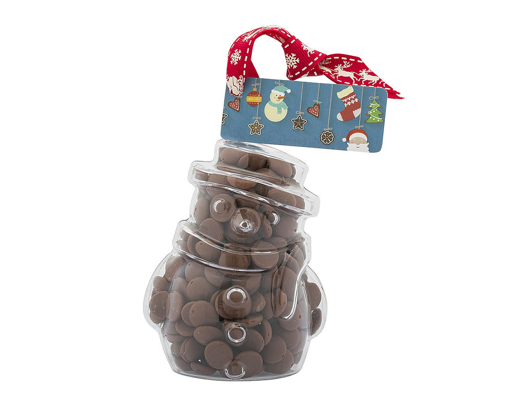 Plastic snowman shape filled with chocolate buttons, Christmas Gift - Image 1