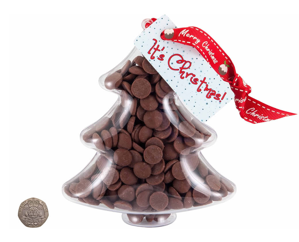 plastic christmas tree shape filled with chocolate buttons to scale against 20p piece - Plastic Christmas Tree