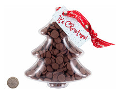 Plastic Christmas Tree shape filled with chocolate buttons - to scale against 20p piece