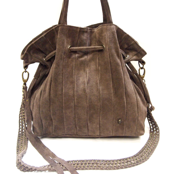 Sin Suede Leather Bag in Chocolate