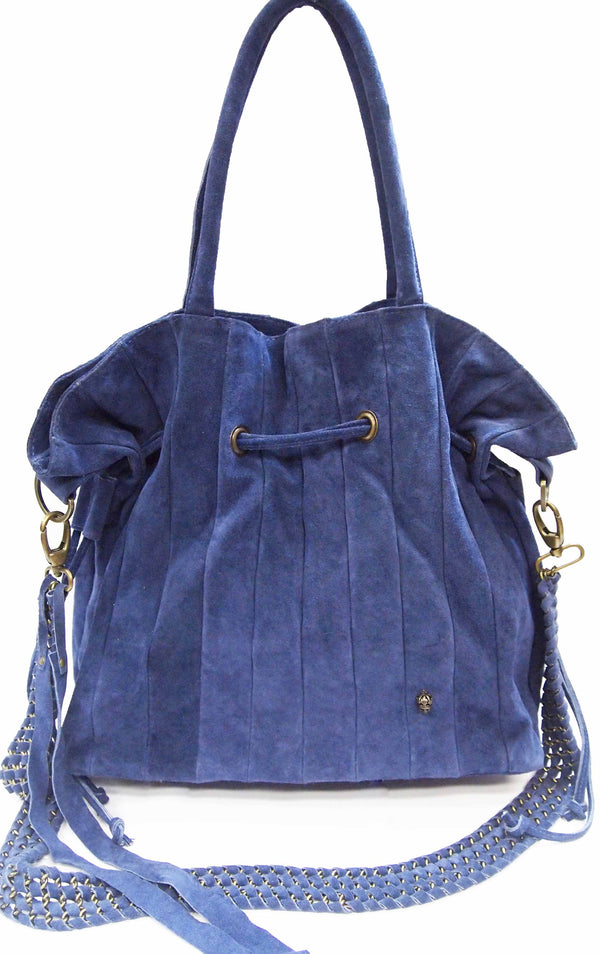 Sin Suede Leather Bag in Navy