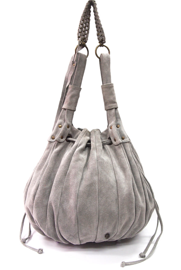 Saint Suede Leather Bag in Grey