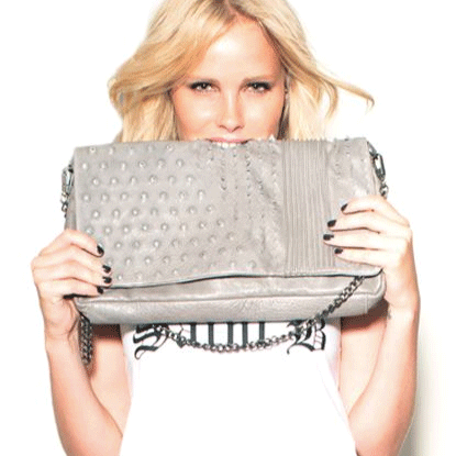 Deviant Leather Clutch in Grey