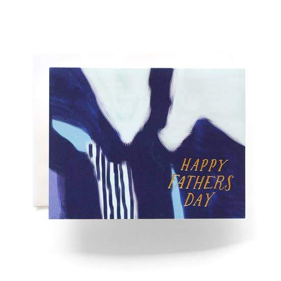 Blue Abstract Father's Day card with Happy Father's Day on it in gold leaf