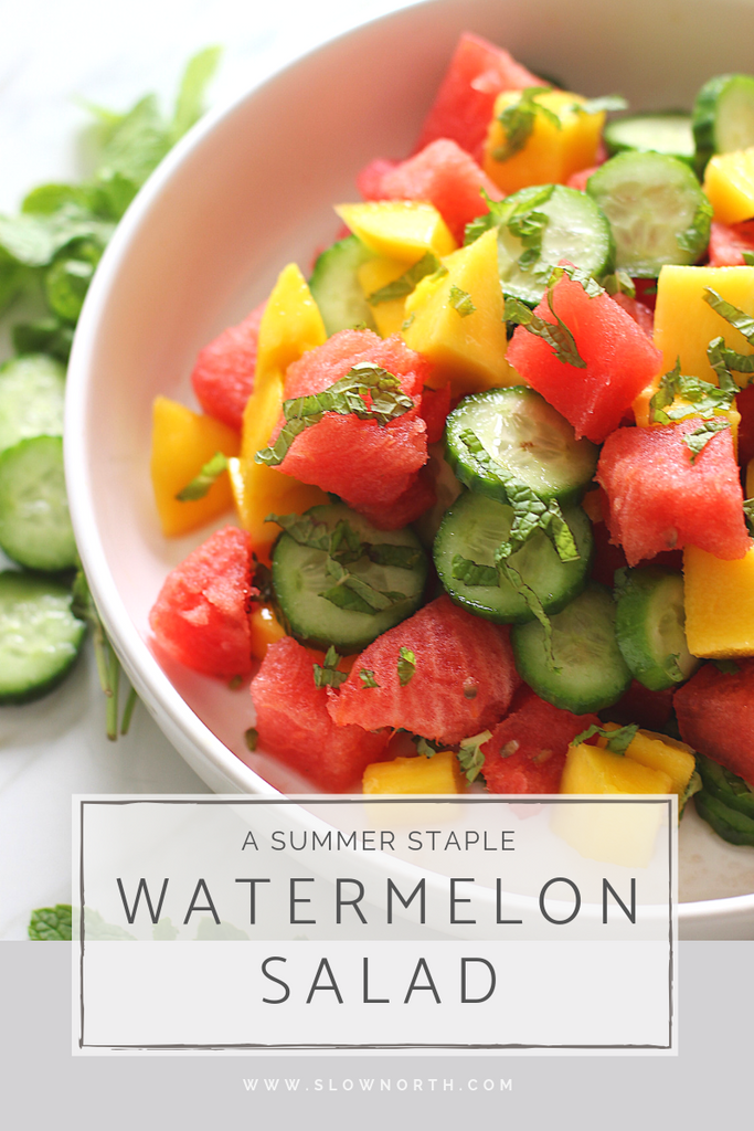 photo of slow north's plant-based watermelon salad recipe