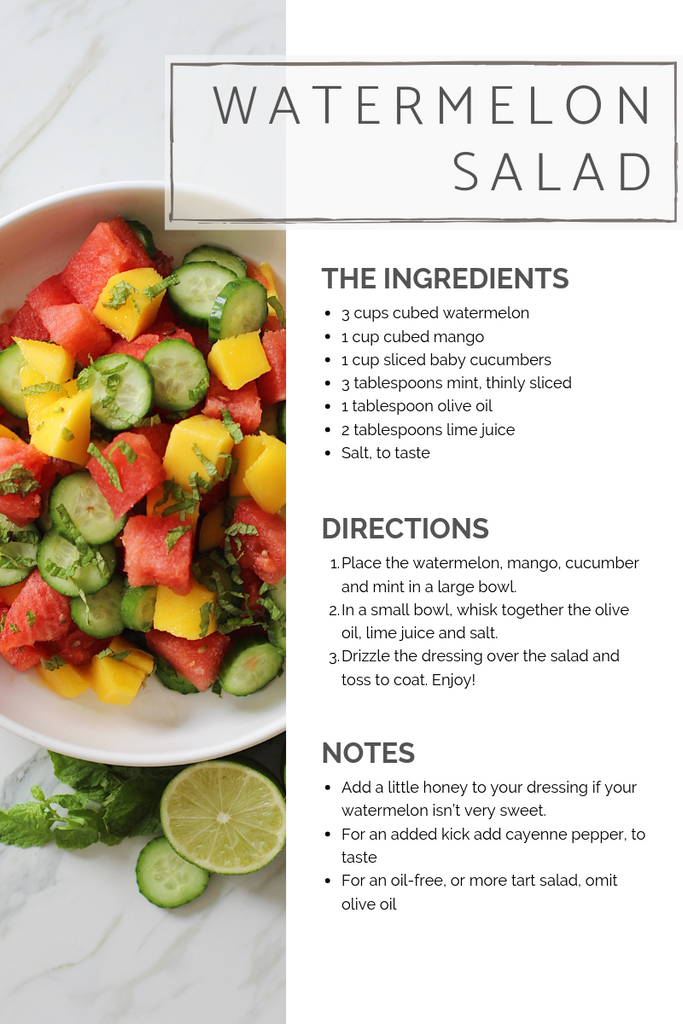 Ingredients for slow north's plant-based watermelon salad recipe