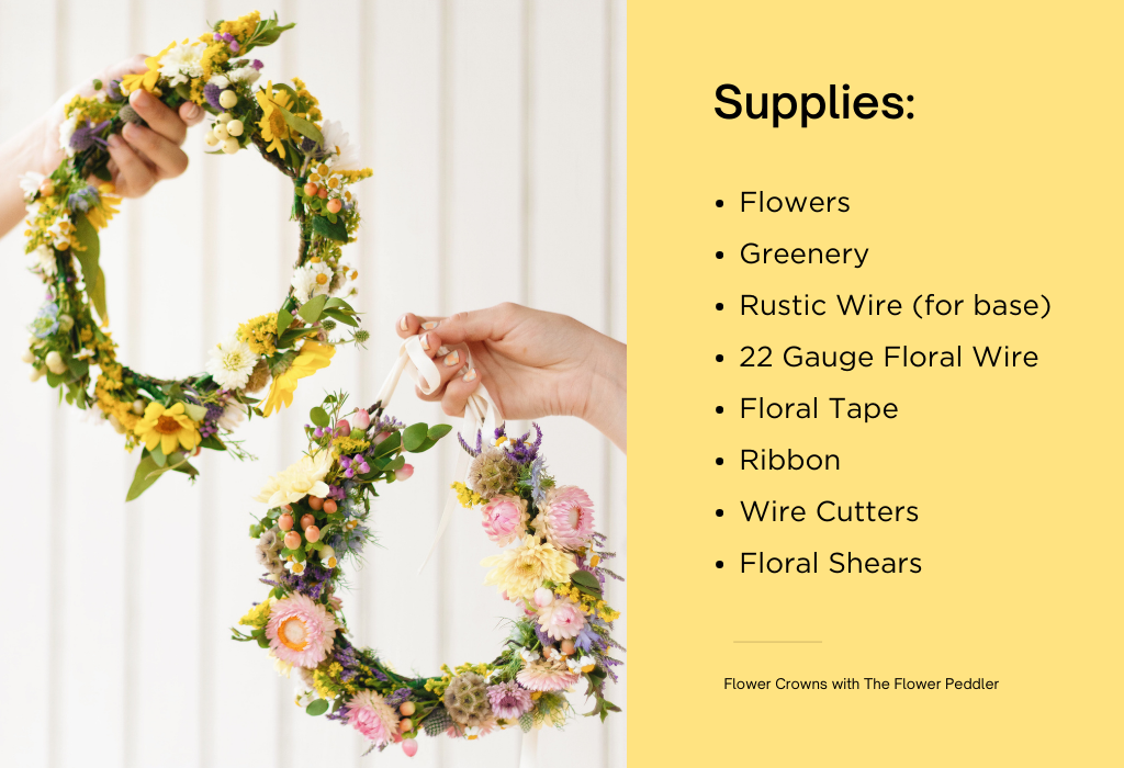 Supplies List, you'll need Flowers, Greenery, Rustic Wire (for base), 22 Gauge Floral Wire, Floral Tape, Ribbon, Wire Cutters, and Floral Shears