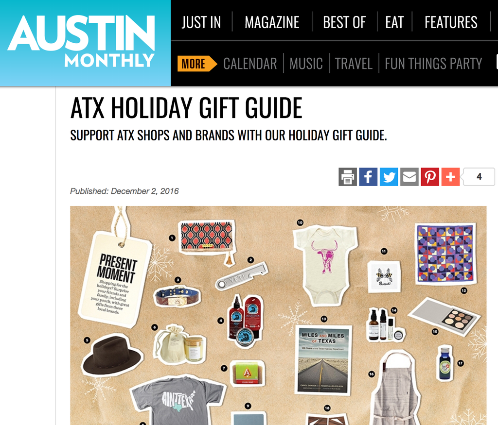 Slow North featured in Austin Monthly Gift Guide