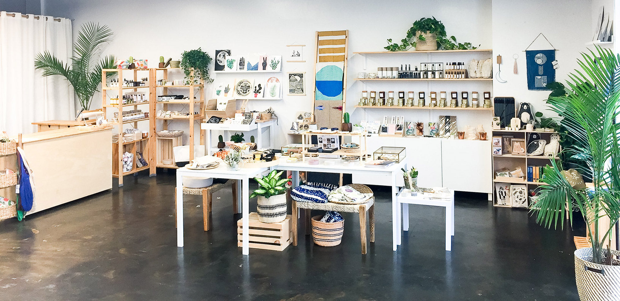 Picture of the retail area of Slow North's first retail location in North-Central Austin, Texas, at the Village off Anderson Lane. Featuring our production studio and a maker gift shop, we also regularly feature workshops hosted by Slow North and makers working in other disciplines.
