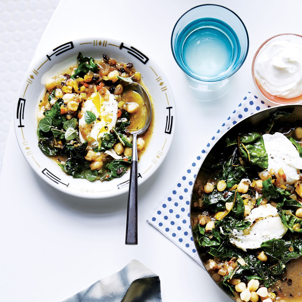 Chickpeas-and-Chard with Poached Eggs Recipe