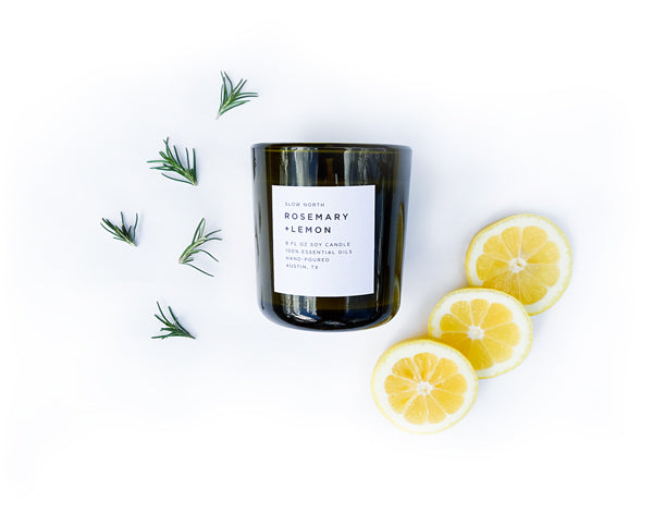 Lemon Rosemary 100% Essential Oil Candle 8oz Tumbler with Free Shipping