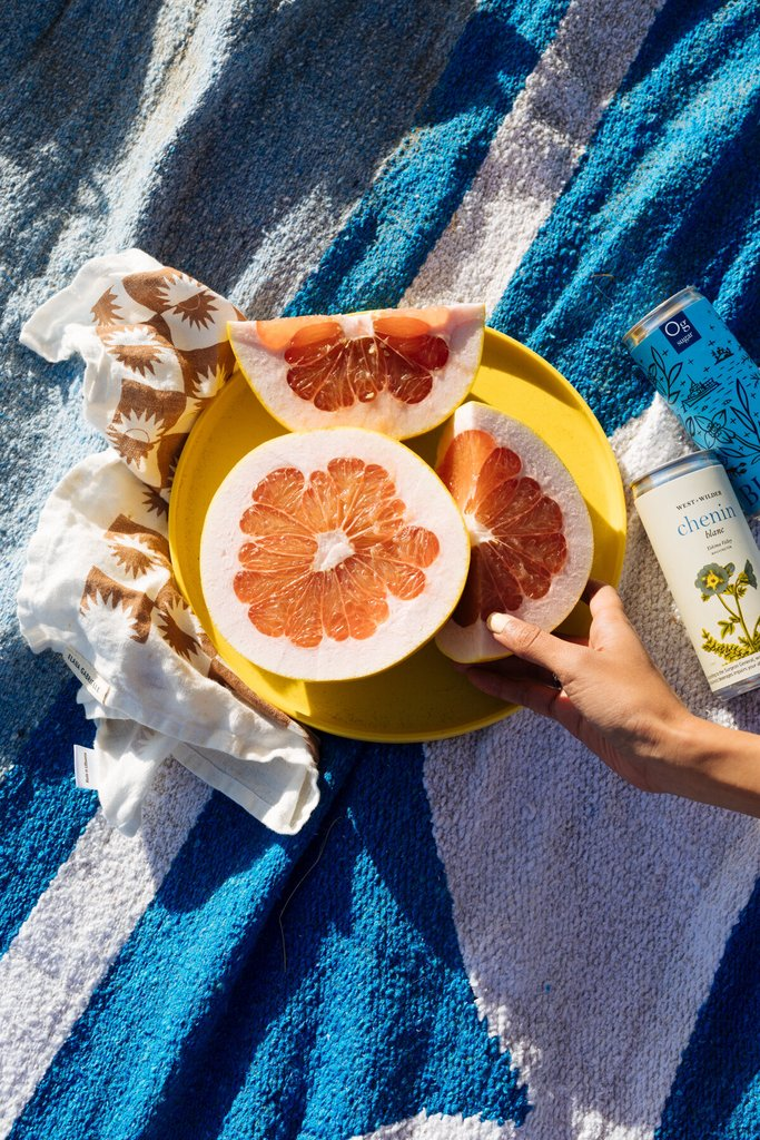 Colorful Blue Blanket with a citrus picnic over it