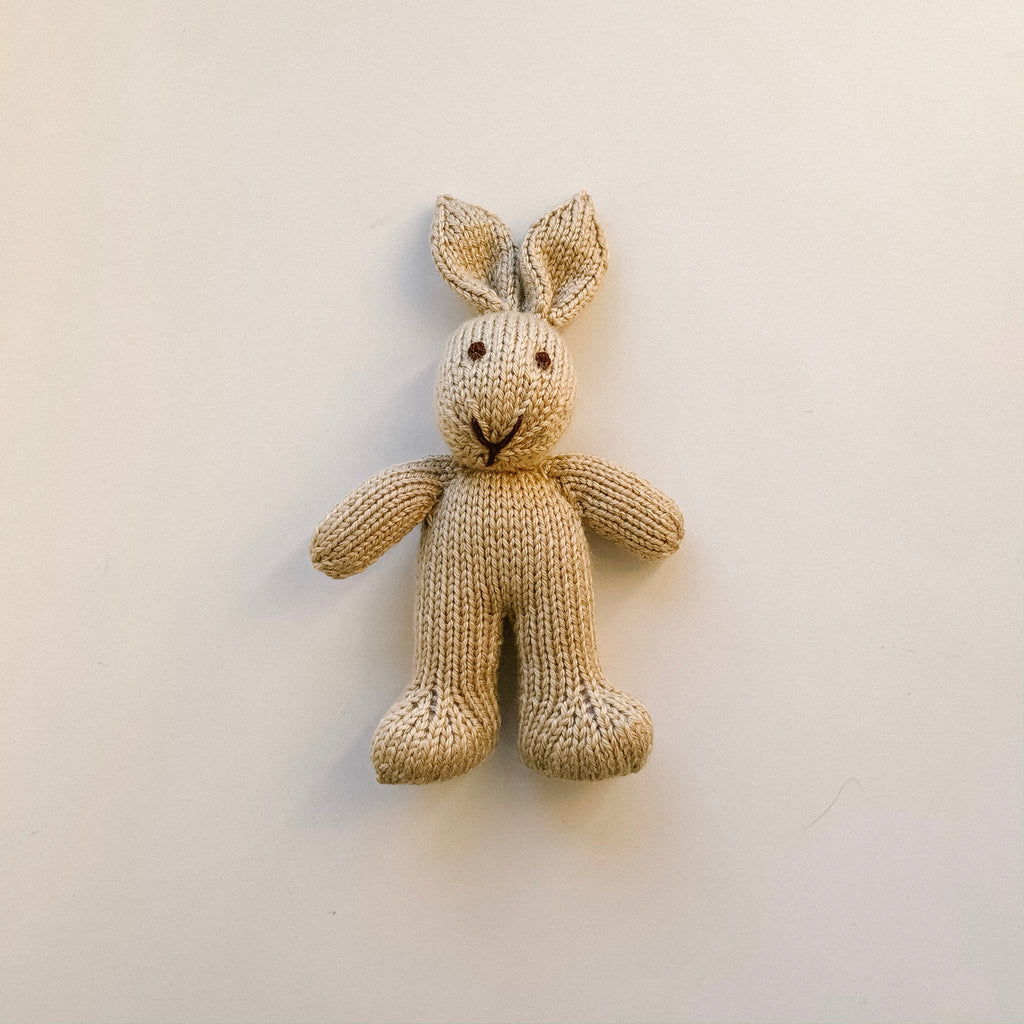 Mini Knitted Bunny Toy - Brown