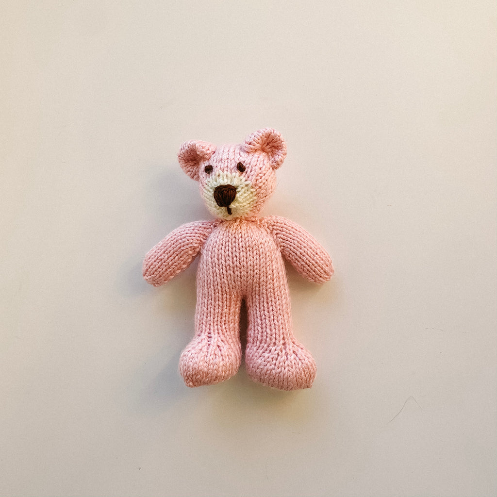 Mini Knitted Bear Toy - Pink