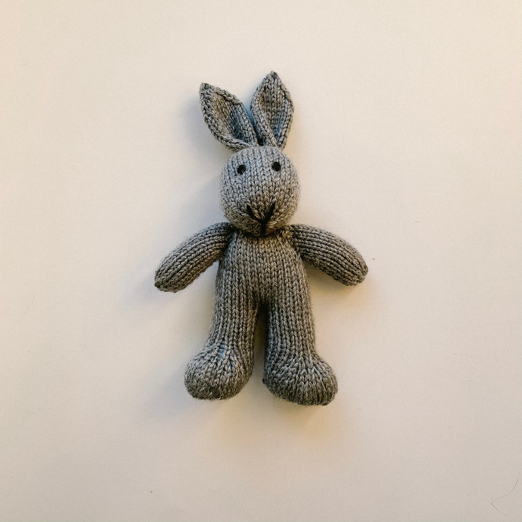 Mini Knitted Bunny Toy - Grey
