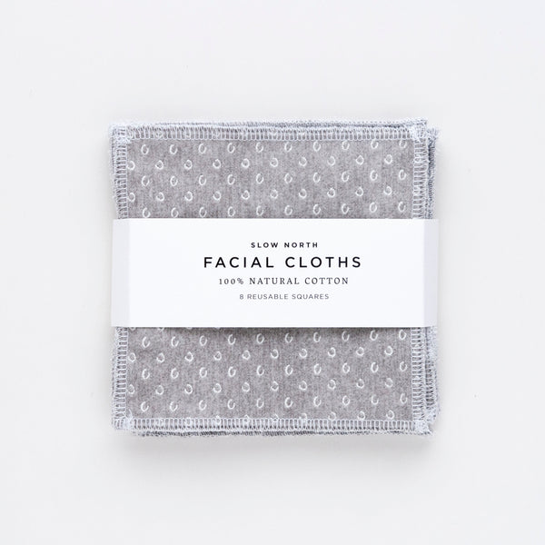 Set of 8 Reusable Facial Cloths (Slate)
