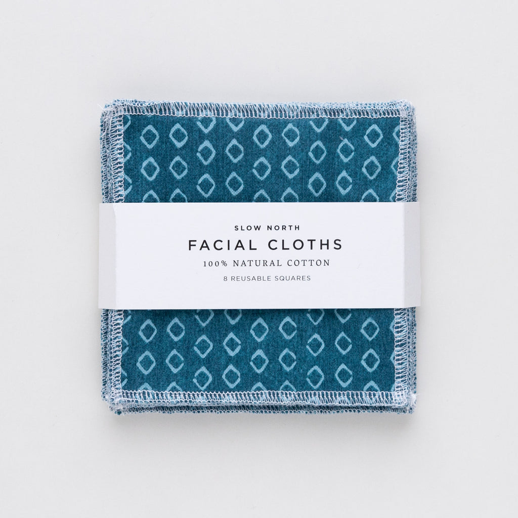 Set of 8 Reusable Facial Cloths (Teal)