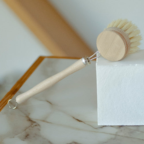 Replaceable Head Dish Brush - White Teakwood & Agave Fiber