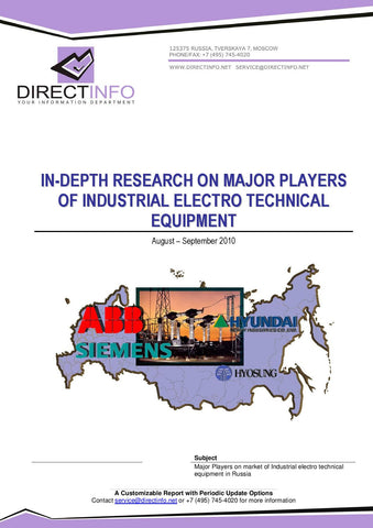 Major Players of Industrial Electro Technical Equipment