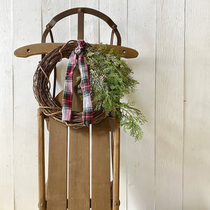 VINTAGE SLED WITH WINTER GREENS