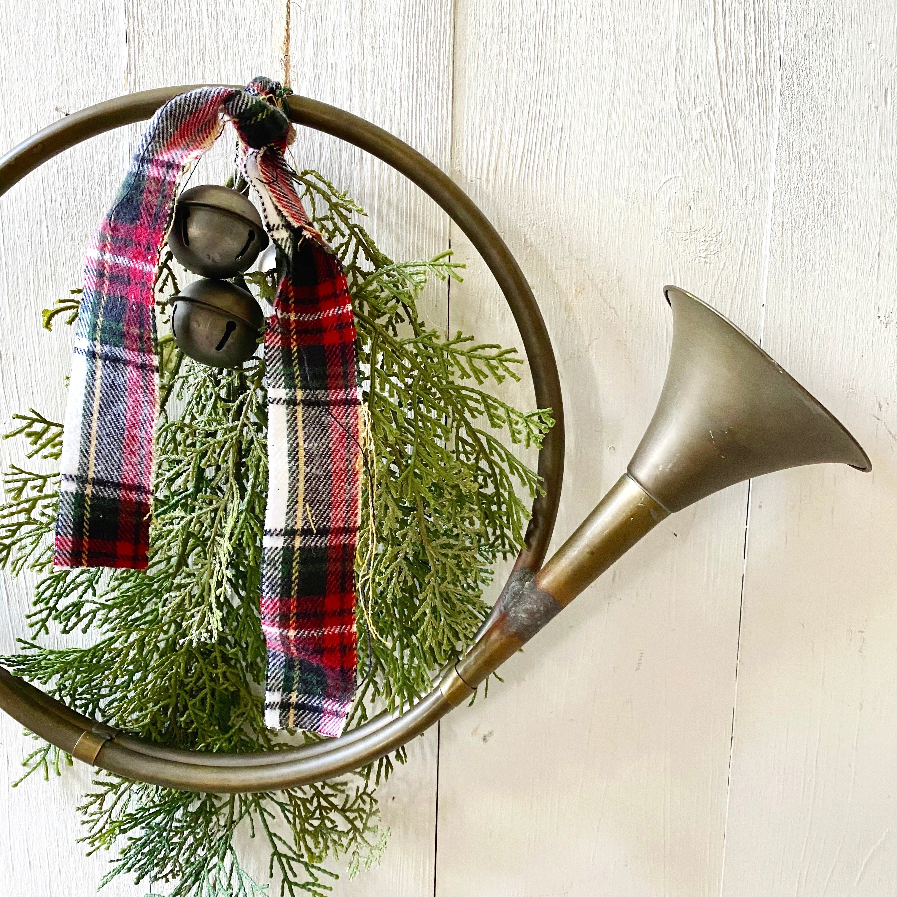 VINTAGE FRENCH HORN WITH HOLIDAY GREENS