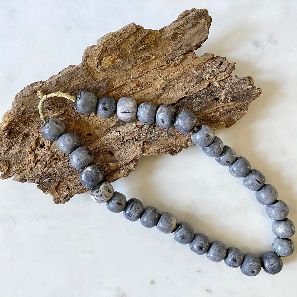 HANDMADE AFRICAN BEADS - GREY COLOR