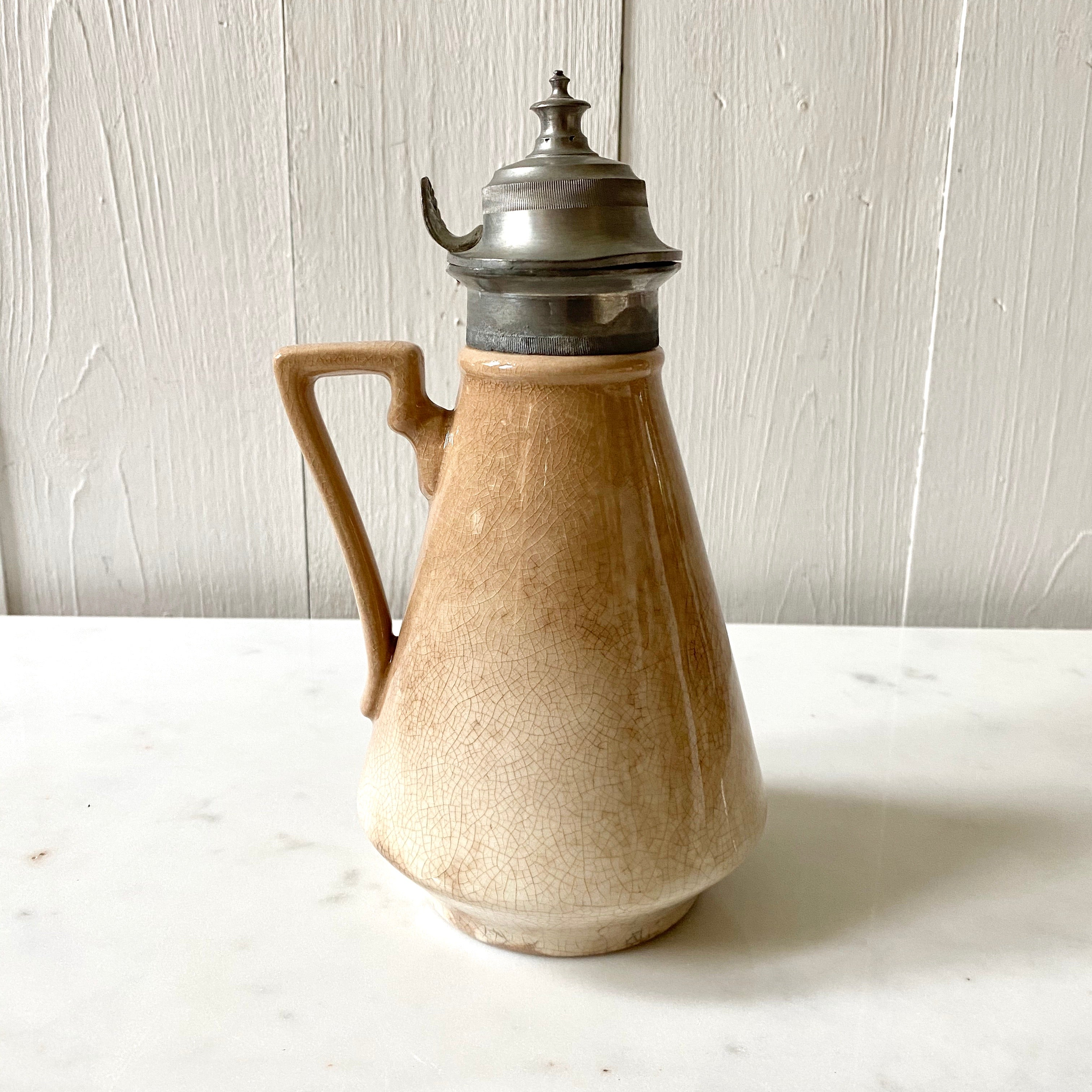 IRONSTONE + PEWTER SYRUP PITCHER