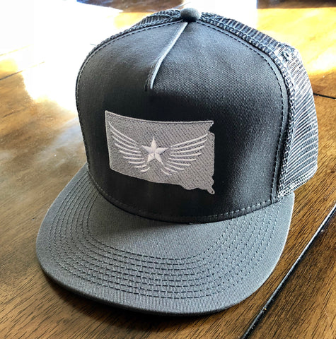 South Dakota Blackout (Grey/White Stitching) Mesh Back Snapback