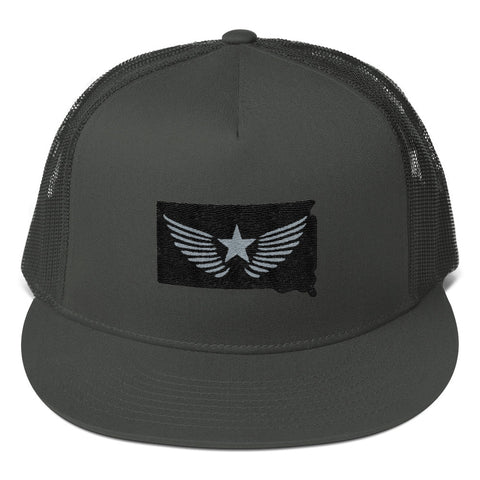 South Dakota Blackout (Black/Grey Stitching) Mesh Back Snapback
