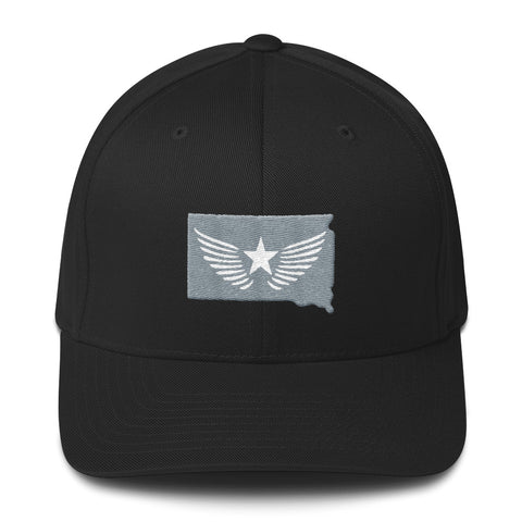 South Dakota Blackout (grey/white stitching) Fittrd cap