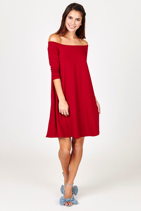 3/4 Sleeve Off The Shoulder Dress