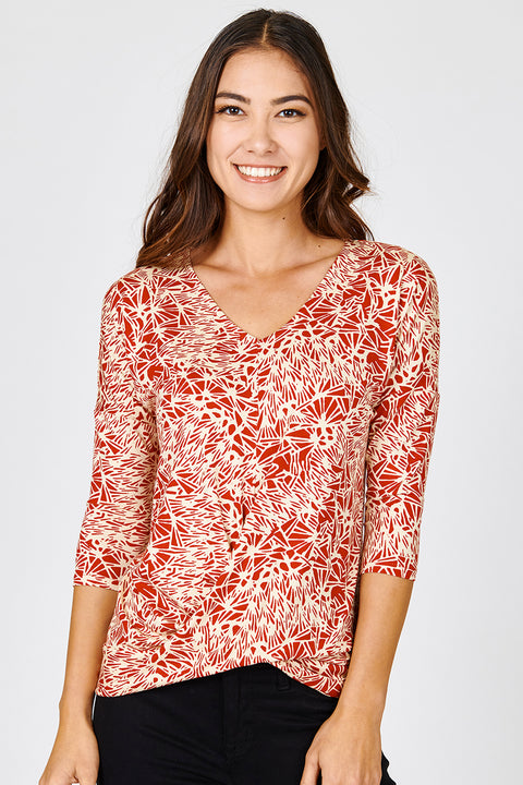 Three Quarter Sleeve Twist Hem Top