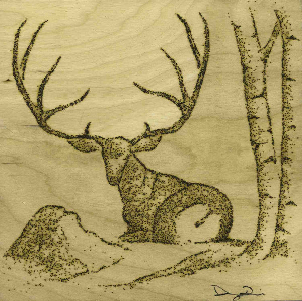 Napping Mule Deer (10 x 10) - SOLD