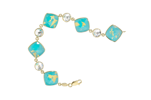 Treasure Island Turquoise Bracelet with 7mm Clear Quartz