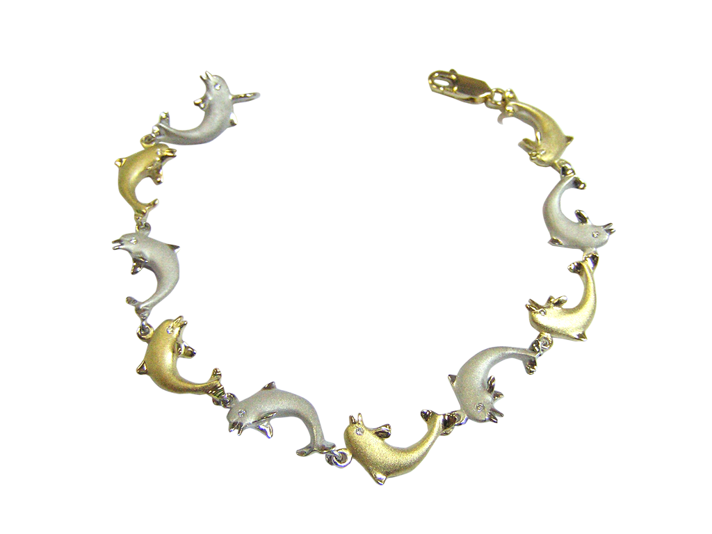 White and Yellow Gold Dolphin Bracelet with Diamonds