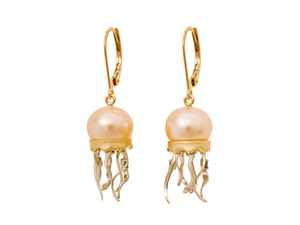 Yellow Gold Jellyfish and Peach Fresh Water Cultured Pearl Earrings
