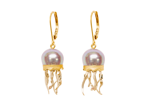 Yellow Gold Jellyfish and Peacock Fresh Water Cultured Pearl Earrings