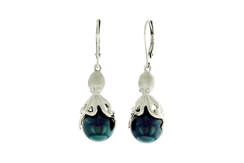 White Gold and Peacock Tahitian Pearl Octopus Earrings