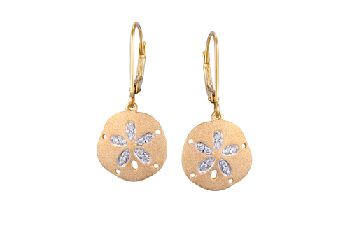 Yellow Gold and Diamond Lever Back Sand Dollar Earrings
