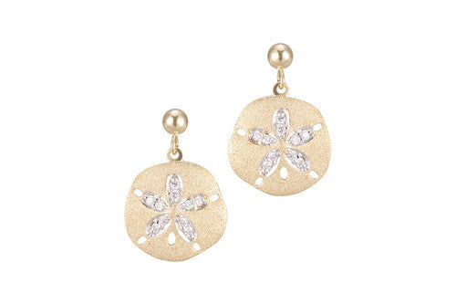 Yellow Gold and Diamond Sand Dollar Earrings
