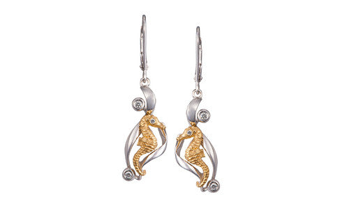 White and Yellow Gold Seahorse Earrings with Diamonds