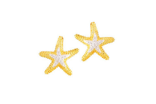 16mm Yellow Gold Starfish Earrings with Diamonds