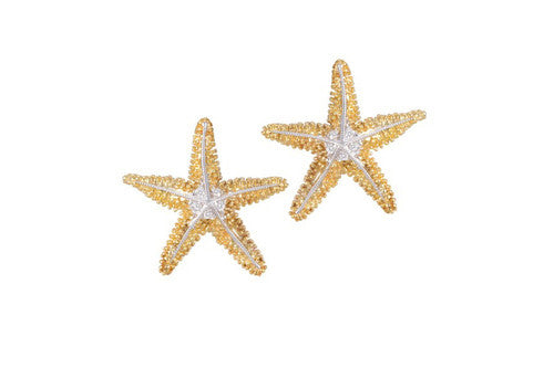 21mm Yellow Gold Starfish Earrings with Diamonds